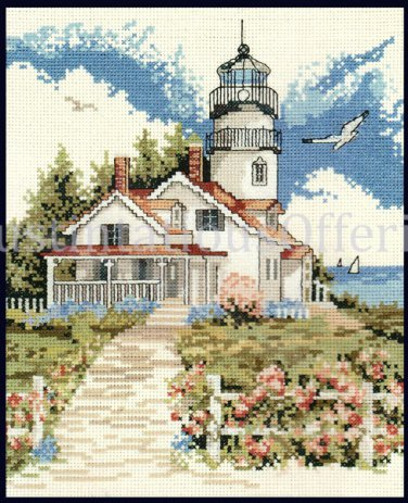 RARE RED FARM STUDIO LIGHTHOUSE COTTAGE NAUTICAL CROSS STITCH KIT