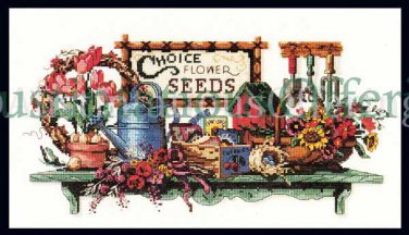 Rare Barbara Mock Gardener Shel Cross Stitch Kit Treasures Collected from the Garden