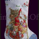 Sarnat Art Repro Olde Time Santa Cross Stitch Stocking Kit Father Christmas Woodland Pere Noel