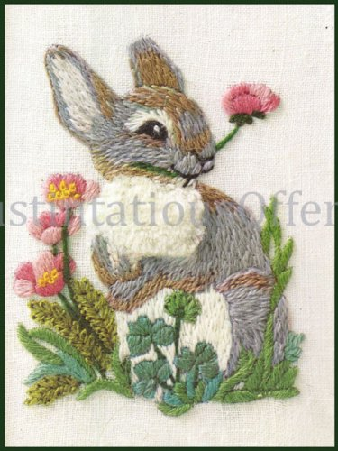 Rare Woodland Animals Series Crewel Embroidery Kit Rabbit Companion Piece