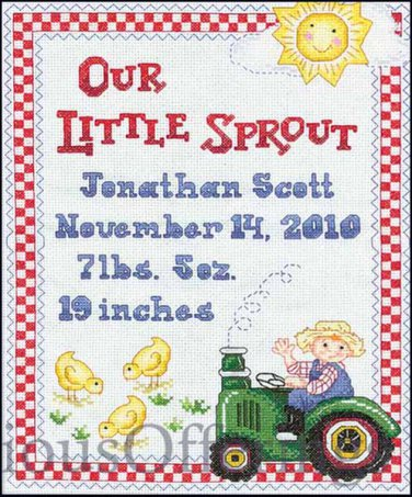 Our Little Sprout Farm Baby  Birth Record Cross Stitch Kit Tractor