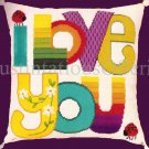RARE DAVENPORT I LOVE YOU TEXTURED NEEDLEPOINT PILLOW KIT CONTEMPORARY RAINBOW COLORS LADY BUG