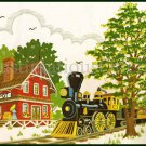 Rare Jennings Countryside Train Depot Crewel Embroidery Kit Steam Engine