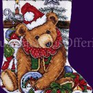 Elliott Victorian Christmas Bear Cross Stitch Christmas Stocking Kit Teddy and Toys