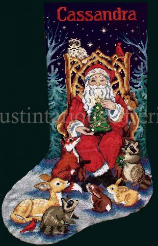 Rare Griffith Father Christmas Cross Stitch Stocking Kit Santa Claus with Woodland Friends
