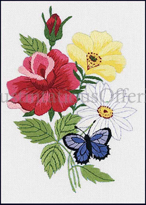 Eleanor Engel Butterfly Floral Crewel Embroidery Kit Roses and Daisy