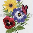 Eleanor Engel Butterfly Floral Crewel Embroidery Kit Pansy and Anemone