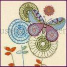 Victoria Johnson Butterfly and Abstract Flower Crewel Embroidery Kit Suitable for Beginners