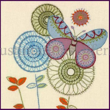 Victorian Johnson Butterfly and Abstract Flower Crewel Embroidery Kit Suitable for Beginners