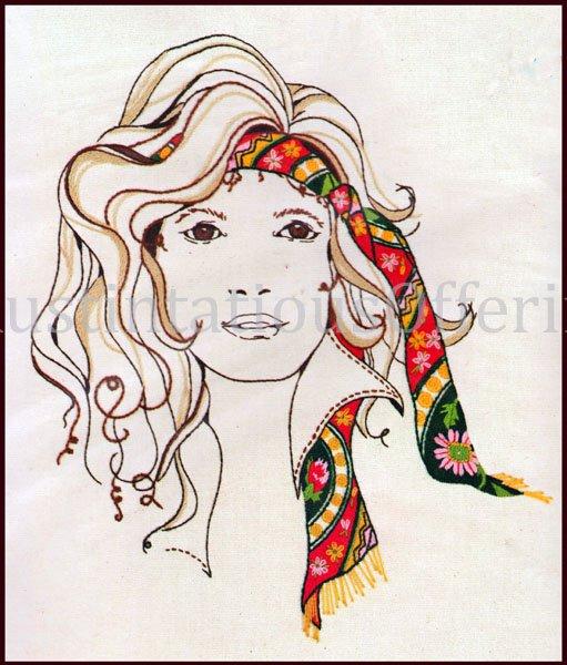 Rare kooler free spirit woman portrait crewel embroidery