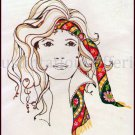 Rare  Kooler Free Spirit Woman Portrait Crewel Embroidery  Kit Dark Brown  Eyes