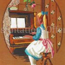 Rare Rienstra Young Girl at Piano Crewel Embroidery Kit Childhood Music Lessons