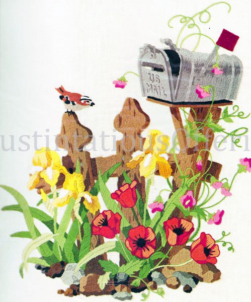 RARE JENNINGS ROADSIDE GARDEN  CREWEL EMBROIDERY KIT RURAL ROUTE MAILBOX