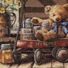 RARE DOUG KNUTSON TEDDY BEAR CROSS STITCH KIT HONEY LITTLE RED WAGON