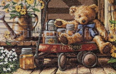 RARE DOUG KNUTSON TEDDY BEAR CROSS STITCH KIT HONEY LITTLE RED WAGON