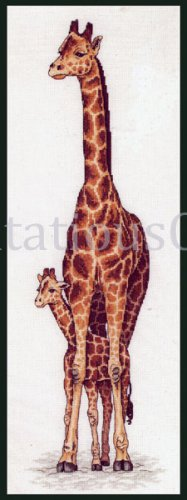 Rare Henderson Wildlife Art Reproduction  Counted Cross stitch Kit Mother Giraffe Calf