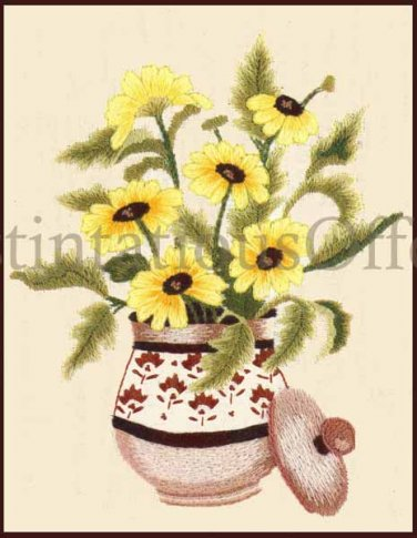 RARE LECLAIR BLACK EYED SUSANS CREWEL EMBROIDERY  KIT WILLIAMS YELLOW DAISIES
