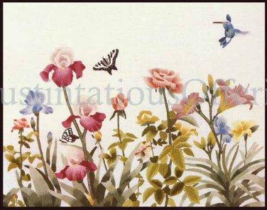 Rare Carmel Foret Watercolor Repro Crewel Embroidery Kit Iris Garden Hummingbird Williams