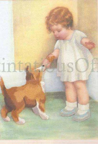 Rare Bessie Pease Gutmann Child and Dog Portrait Crewel Embroidery Kit The Reward