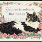 RARE MARILEE CARROLL HOME IS CROSS STITCH  KIT BLACK WHITE CAT