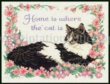 RARE MARILEE CARROLL HOME IS CROSS STITCH  KIT BLACK WHITE CAT