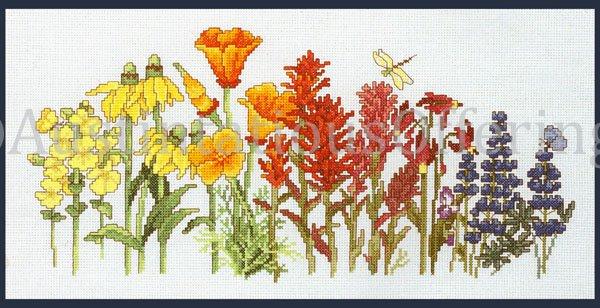 Rare Papais Vibrant Spring Garden Wildflowers Cross Stitch Kit Rainbow Floral