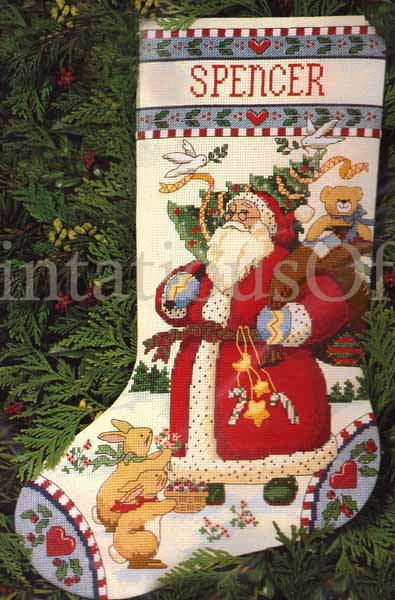 Rare Susan Winget Folkart Woodland Santa Claus Cross Stitch Kit Country Animal Friends