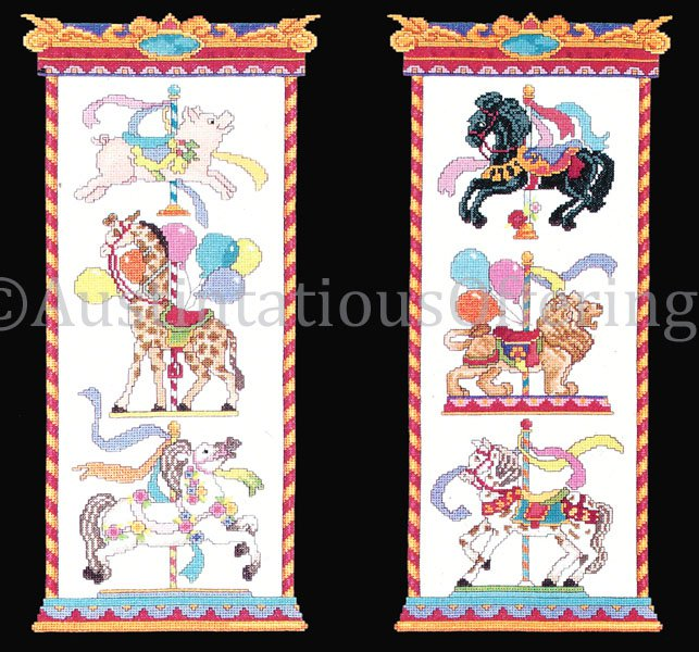 Rare Merry Go Round Cross Stitch Kit Carousel Panel Pair Lion Giraffe