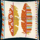 RARE VIBRANT AUTUMN FEATHERS  LARGE COUNT NEEDLEPOINT KIT
