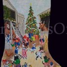 Rare Erico Designs Hand Painted Needlepoint Stocking Canvas Animals Christmas on the Farm