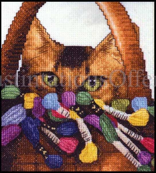 Rare Sherrie Stepp-Aweau Stitching Buddy Cross Stitch Kit Crafty Kitty Cat