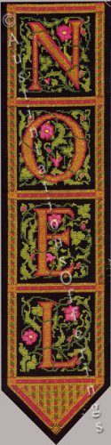 Rare Hrubec Vintage Pink Green on Black Noel Panel Bellpull Cross Stitch Kit Holiday Decor