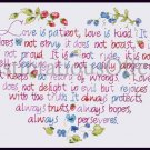 Inspirational Love is Patient Stamped Cross Stitch Heart Sampler Kit 1 Corinthians