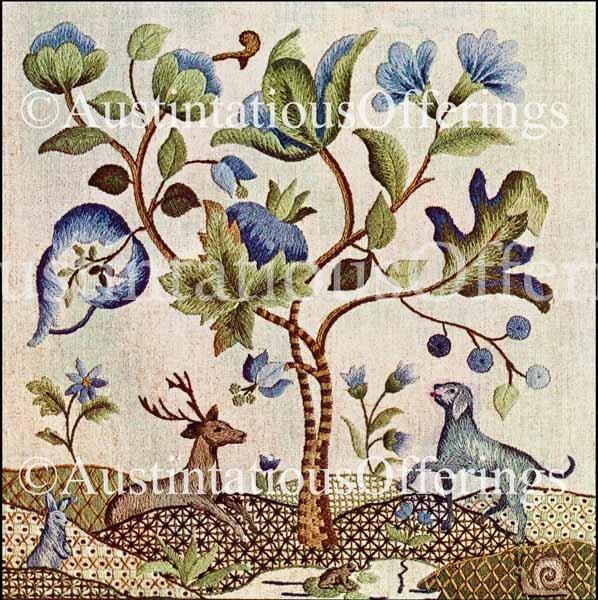 Rare whi london jacobean crewel embroidery pillow kit