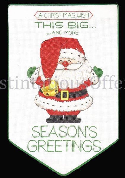 Rare Morehead Santa Seasons Greetings CrossStitch Banner Kit