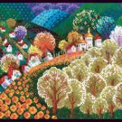 Vibrant Kolmakova Abstract Valley Cross Stitch Kit Contemporary Fairytale Village