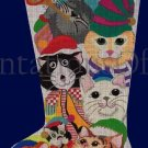 Rare Dede Ogden Hand Painted Needlepoint Stocking Canvas Christmas Kitty Cats