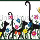 Kitty Travelers Embellished Stamped Cross Stitch Kit Cat Silhouettes Suits Beginners