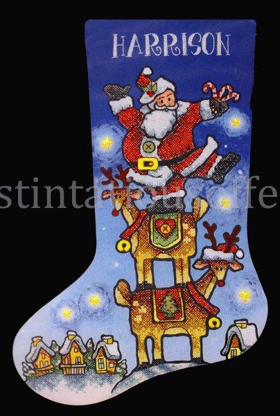 Michael Stoebner Folk Art Stacking Santa Cross Stitch Stocking Kit