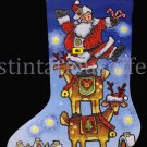 Michael Stoebner Folk Art Stacking Santa Cross Stitch Stocking Kit