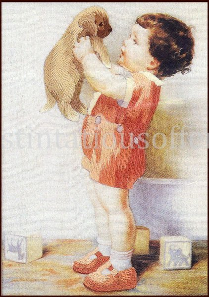 Rare Bessie Pease Gutmann Child and Puppy Portrait Crewel Embroidery Kit