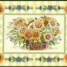 Rare Floral Basket Cross Stitch Kit Sunflower Pansies