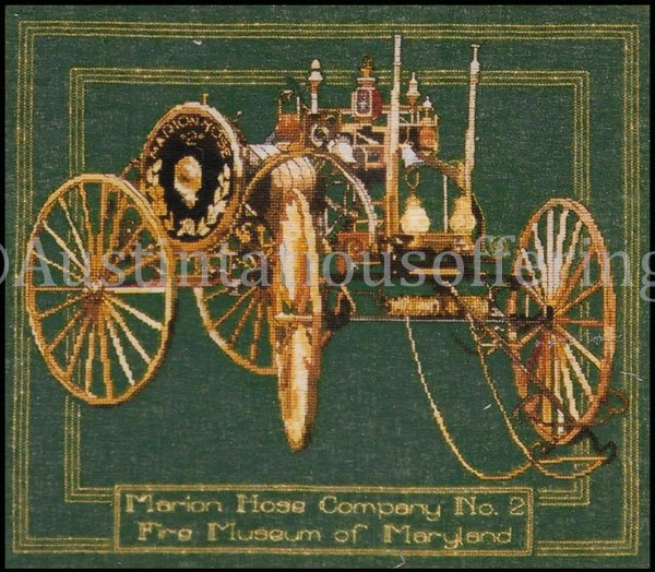 Rare RyeZettel Antique Fire Truck Cross Stitch Kit Hose Wagon Firehouse Engine