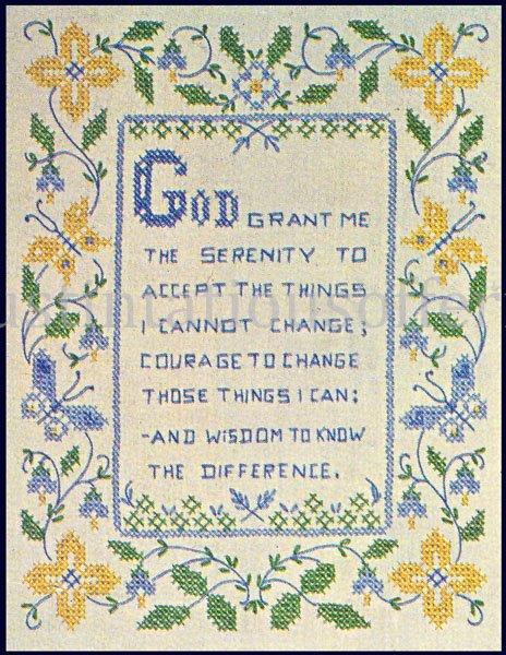 Inspirational Serenity Prayer Stamped Cross stitch Sampler Kit