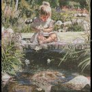 Rare Steve Hanks Artwork Repro Pondside Daisies Embellished Cross Stitch Kit Child at Play
