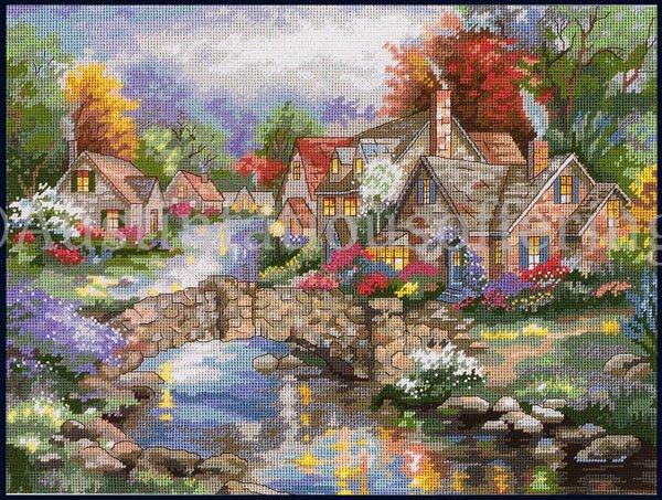 Rare Nicky Boehme Riverside Village Needlepoint Kit Stonehedge Bridge