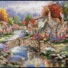 Rare Nicky Boehme Riverside Village Needlepoint Kit Stonehedge Bridge