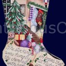 Rare Night Before Christmas Series Hand Painted Needlepoint Stocking Canvas Stockings Were Hung