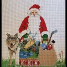 Rare Once in Blue Moon Gilmore Hand Painted Needlepoint  Canvas Minnesota Sporting Santa