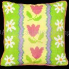 RARE TWILLEYS TULIPS DAISIES LARGE COUNT WOOL CROSS STITCH PILLOW KIT PINK TULIP DAISY